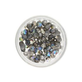 Firepolish™ / 4mm / Crystal Etched / Graphite Rainbow / 40pcs