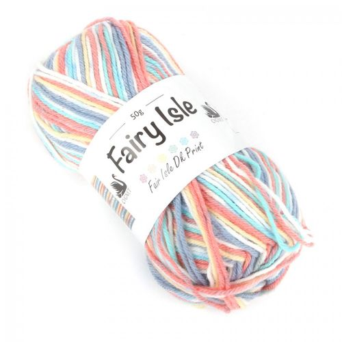 X- Foxglove Multi Colour Cygnet Fairy Isle Wool Cord 50g