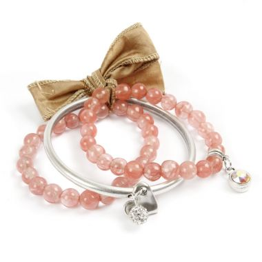 Cherry Quartz Glass Beads Moda Bracelet