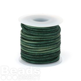 Antique Green Dyed Matte Finish 1.5mm Leather Cord 5metres