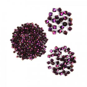 Purple Crystal Glass Bicone Beads Pk325 (4mmx250 6mmx50 8mmx25)