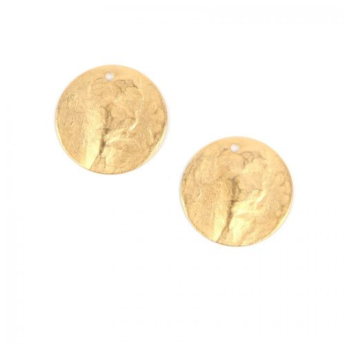 """""""X"""" Matte Gold Plated Hammered Coin Charm 20mm Pack of 2"""