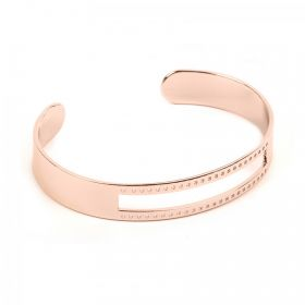 Rose Gold Plated Brass Bracelet Base w/Cut Out Centre & Small Holes 10x58mm Pk1