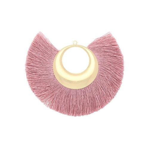 Fan tassel / viscose thread with moon base / 90mm / cocktail pink / 1pcs
