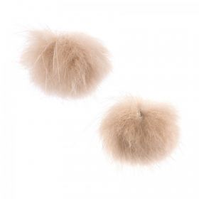 Beige Faux Fur Ball Charm Charm with Ring 25mm Pk2