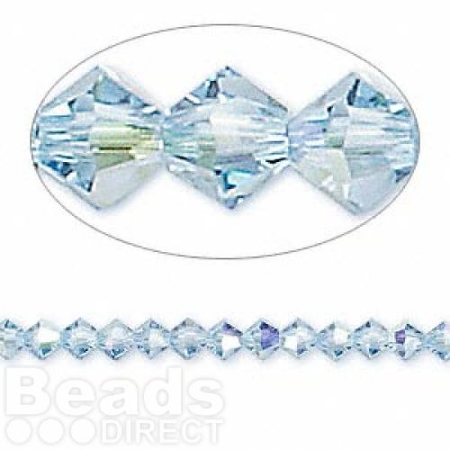 5328 Swarovski Crystal Bicones Xillion 4mm Aquamarine AB Pk24