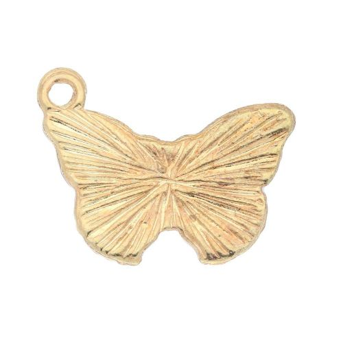 SweetCharm ™ Butterfly / charm pendant / 15x20x2mm / gold plated / multi colour / 2pcs
