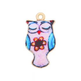 SweetCharm™ owl / charm pendant / 23x13x2mm / KC gold-light pink / 2pcs