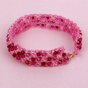 Beads Direct Pink Bicone Tennis Bracelet Kit made with Swarovski - Makes x1