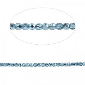 Preciosa Czech Fire Polish Bead 3mm Vintage Blue Pk100