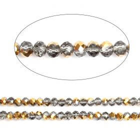 "Gold 1/2 Coated Essential Crystal Glass Faceted Rondelle Beads 6mm 16""Strand"