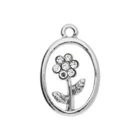 Glamm ™ Flower / charm pendant / with zircons / 24x16x3mm / silver plated / 1pcs