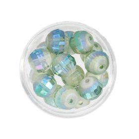 CrystaLove ™ / frosted / faceted glass crystals / round / 10mm / sea green / opalescent / 10pcs