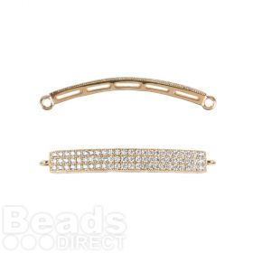Gold Plated Cubic Zirconia Rectangle Connector 5x33mm Pk1