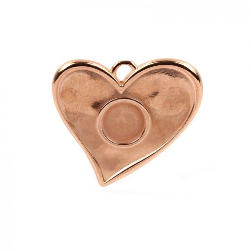 Rose Gold Plated Large Heart Charm 12mm Centre 41x40mm Pk1