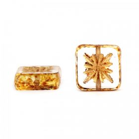 Gold Preciosa Czech Glass Patterned Square 10mm Pk10