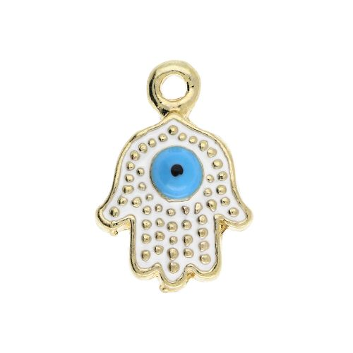 SweetCharm™ fatima hand / hamsa / charm pendant / 15x10x3.5mm / gold-white / 2pcs