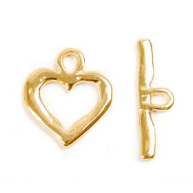 Gold Plated Zamak Heart Toggle Clasp 23x33mm Pk1