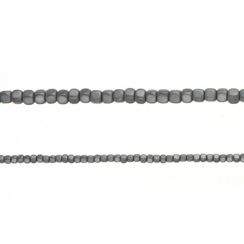 "X-Matte Grey Hematite Cube Beads 3mm 16"" Strand approx. 200 Beads"