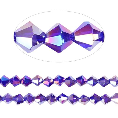 X- Essential Crystal 8mm Bicones Dark Purple AB Pk35