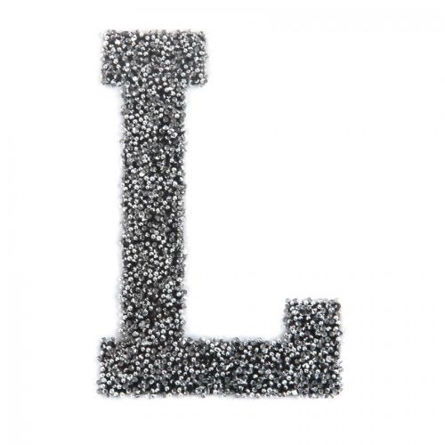 Swarovski Crystal Letter 'L' Self-Adhesive Fabric-It Black CAL Pk1