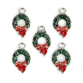 Red and Green Bow Knot Wreath Xmas Charm 14x24mm Pk5