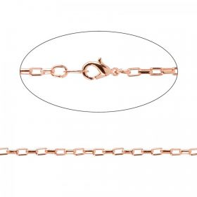 Rose Gold Plated Rectangle Link Chain with Clasp 46cm