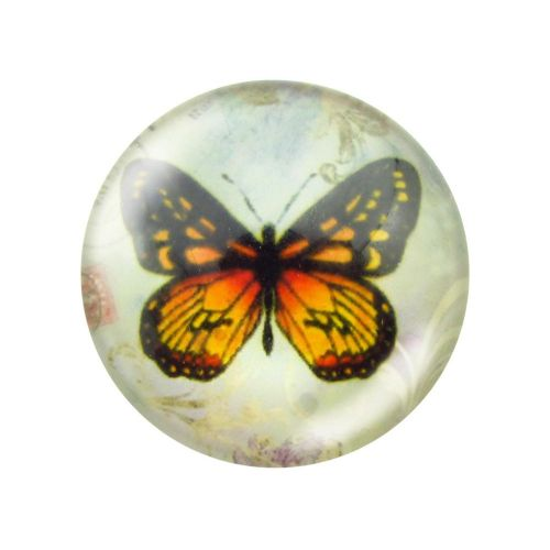 Glass cabochon with graphics 12mm PT1530 / black and orange / 4pcs
