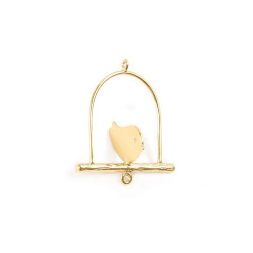 X-Gold Plated Brass 3-D Bird Charm 26x30mm Pk1