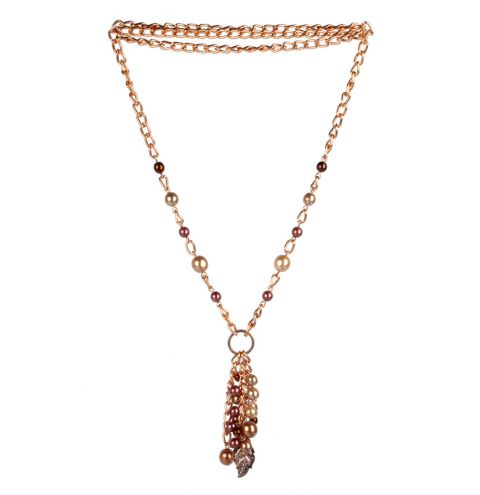 Rose Gold Pearl and Chain Necklace