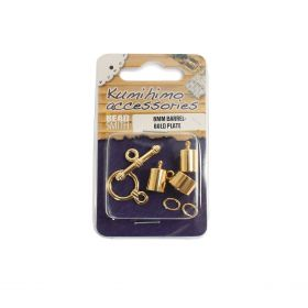 Kumihimo Findings Set 6mm Barrel Gold Plated