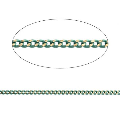 X Mint Green/Gold Plated Brass Thin Curb Chain 1.45x1.8mm 1metre