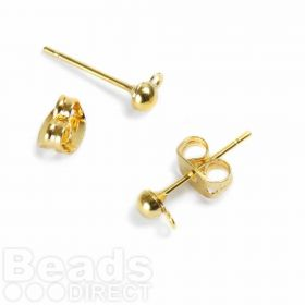 Gold Plated Half Ball Earstuds with Closed Loop 5xPairs