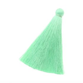 Tassel / viscose thread / 70mm / width 10mm / bright green / 1pcs
