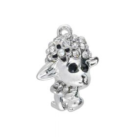 Glamm ™ Sheep / charm pendant / with zircons / 20x14x5.5mm / silver plated / 1pcs