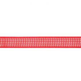 Red and White Dogtooth Print Fancy Ribbon 15mm Pre Cut 1m Length