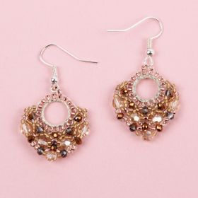 Golden Shadow Beaded Fan TAMB Earrings made with Swarovski - Makes x2 Pairs