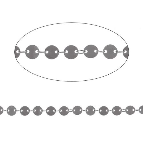 Gunmetal Plated Brass Connected Disk Chain 6mm 1metre