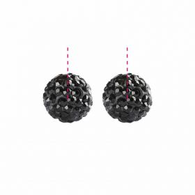 Black Premium Shamballa Fashion Half Drilled 6mm Round Beads Pk2