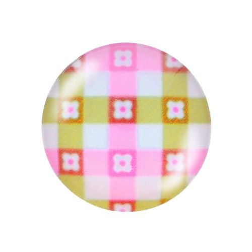 Glass cabochon with graphics K20 PT1439 / pink-green / 20mm / 2pcs