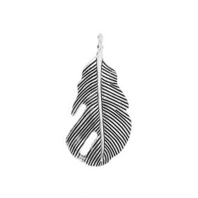 Feather / charm / 43x20x2.5mm / silver / 2pcs