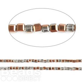 "Bronze 1/2 Coated Essential Crystal Faceted Cube Beads 3mm 13"" Strand"