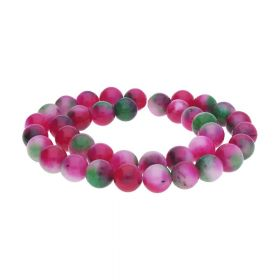 Agate / round /10mm / pink-olive-white / 28pcs