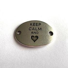 Zamak Keep Calm and Love Connector 20x30x1mm Pack of 1