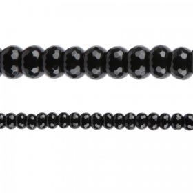 "Black Agate Semi Precious Faceted Beads 8x12mm 15"" Strand"