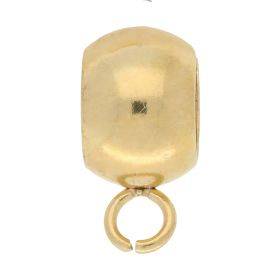 Charm carrier / surgical steel / 11x5.5x8mm / gold / hole 5mm / loop 1.5mm / 2pcs