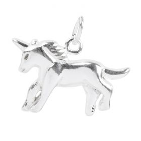 Sterling Silver 925 Unicorn Charm with Jump Ring 13x21mm Pk1