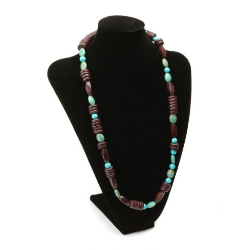 Turquoise and Dark Wood Necklace