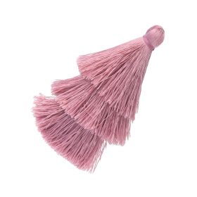 Tassel / viscose thread / triple layer / 70mm / width 7mm / rose / 1pcs