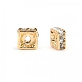 Gold Plated Squaradelle 6mm Spacer with Crystal Pack20